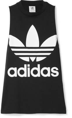 adidas Trefoil Printed Cotton-jersey Tank - Black