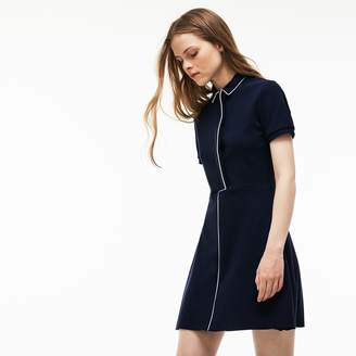 Lacoste Women's Fitted Flared Piped Cotton Interlock Dress