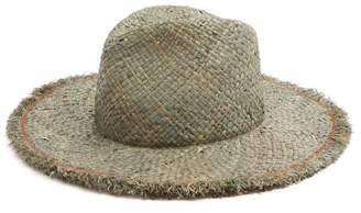 Lola Hats - Large Dad's Frayed Edged Straw Hat - Womens - Blue