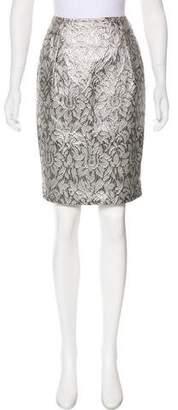 Carmen Marc Valvo Metallic Knee-Length Skirt