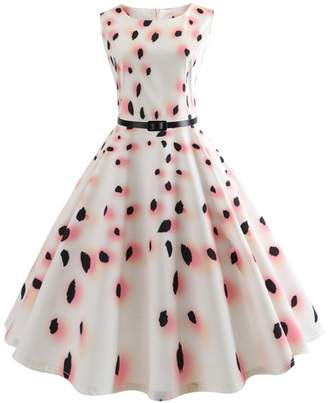 Twinsmall Womens Classy Audrey Hepburn 1950s Vintage Rockabilly Swing Tea Dress with Belt (XL, )