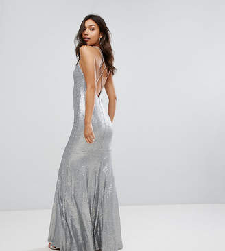 TFNC Allover Sequin Maxi Dress With Strappy Back