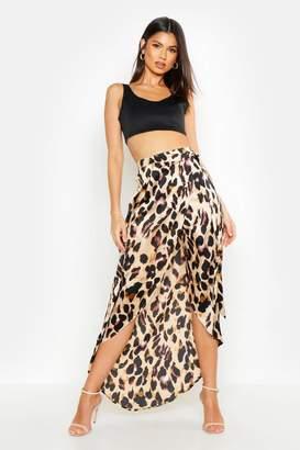 boohoo Leopard Print Wrap Tie Waist Maxi Skirt
