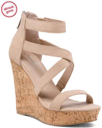 Strappy Cork Wedge Sandals