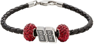 "Insignia Collection NASCAR Dale Earnhardt Jr. Leather Bracelet & Sterling Silver Crystal & ""88"" Bead Set"