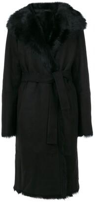Joseph tie-waist fur trim coat