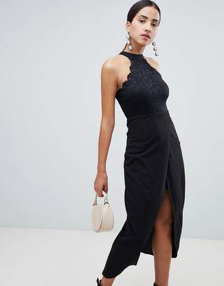 AX Paris Scalloped Sqaure Neck Maxi Dress With Wrap Front