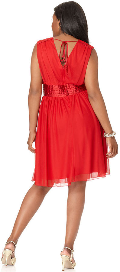 Trixxi Plus Size Dress, Sleeveless Banded Empire A-Line