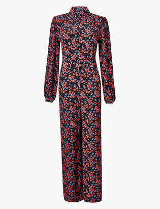 Marks and Spencer Floral Print Long Sleeve Jumpsuit