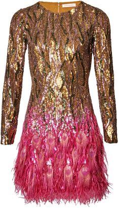 Bronze Liquid Sequin Peacock Feather Dress