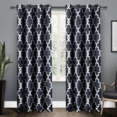Ironwork 96-Inch Grommet Top Room Darkening Window Curtain Panel Pair in Blue