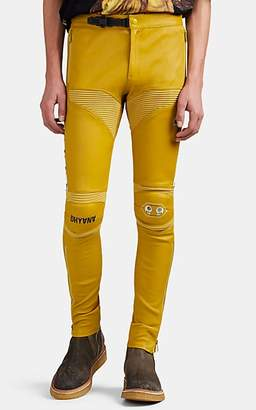 Undercover Men's Leather Skinny Moto Trousers - Yellow