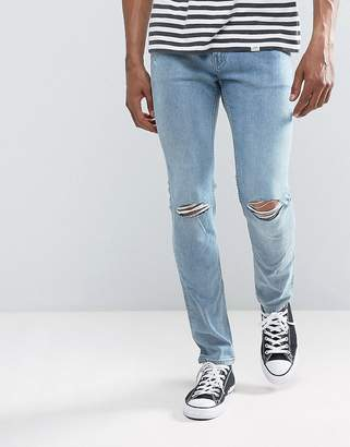 Cheap Monday Tight Skinny Jeans Spear Blue Knee Rip