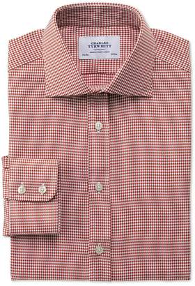 Charles Tyrwhitt Slim Fit Semi-Spread Collar Melange Puppytooth Copper Cotton Dress Shirt Single Cuff Size 14.5/33