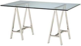 "One Kings Lane Modern 60"" Glass Architect Desk - Silver"
