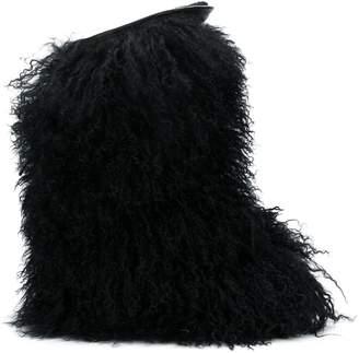 Saint Laurent Curly Fur Leather Boot