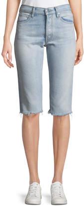 Helmut Lang Cutoff Knee-Length Denim Shorts