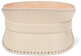 Alexander McQueen Eyelet-embellished Leather Waist Belt - Cream