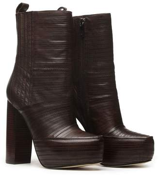 BASIC EDITIONS Women's Leather Zipper Platform Chunky High Heel Ankle Winter Booties