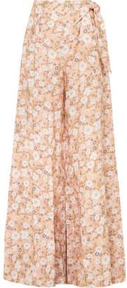 Miguelina Elaina Floral-print Linen Wide-leg Pants - Peach