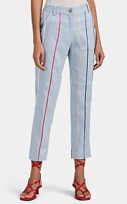 Derek Lam 10 Crosby Women's Striped Linen-Blend Crop Trousers - Lt. Blue