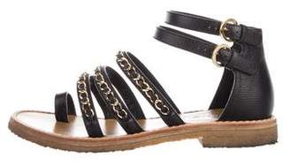 Chanel Chain-Link Leather Sandals
