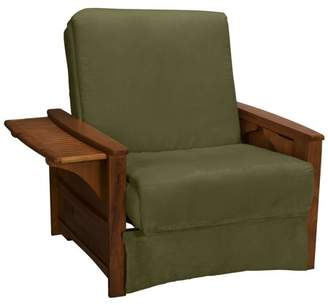 Comfort Style Bayview Perfect Sit & Sleep Inner Spring Chair Sleeper Child-size Bed, Chair-size, Walnut Arms, Suede Khaki