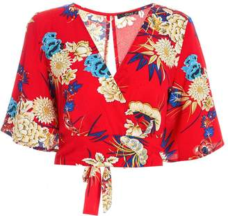 Quiz Red Floral Print Flute Sleeve Top