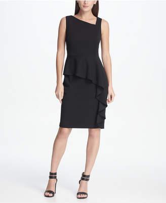 DKNY Asymmetric Neck Peplum Sheath Dress