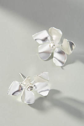 Anthropologie Metallic Flower Post Earrings