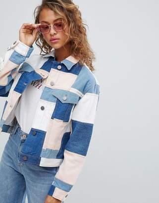 Asos Design DESIGN denim patchwork jacket
