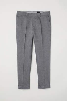 H&M Slim Fit Cropped Suit Pants - Gray