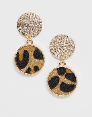 Asos Design DESIGN earrings with rope stud and faux leopard skin drop in gold