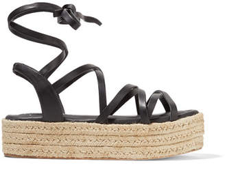 Zimmermann Leather Espadrille Platform Sandals - Black