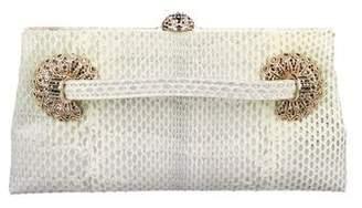 Valentino Crystal-Embellished Snakeskin Clutch