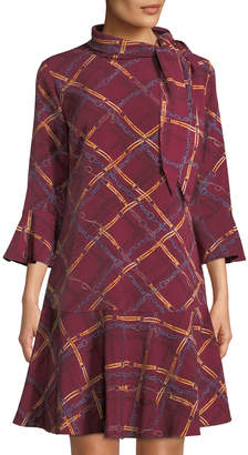 Karl Lagerfeld Paris Chain-print Long-Sleeve Dress