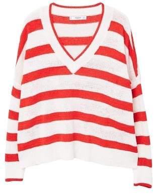MANGO V-neck striped sweater