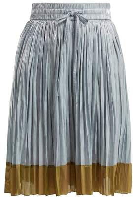 RED Valentino Colour Block Pleated Skirt - Womens - Light Blue