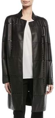 Escada Laser-Grid No-Close Lamb Leather Jacket