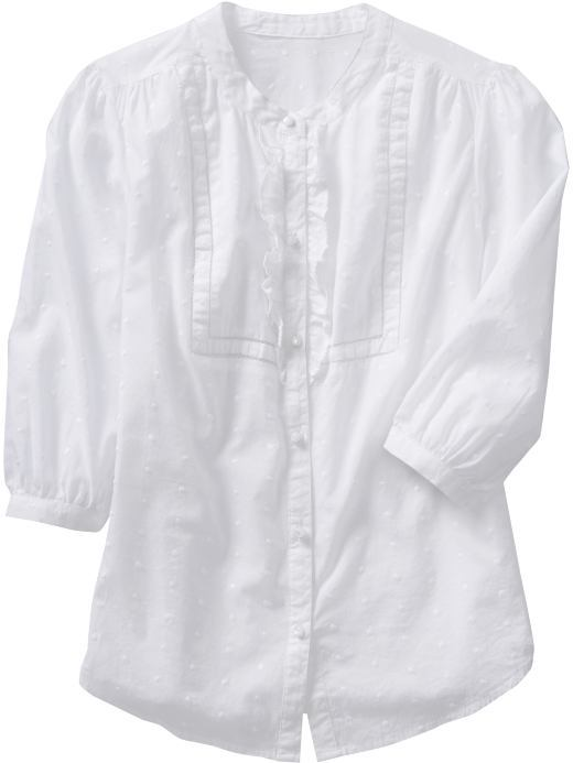 Women's Ruffled Swiss-Dot Shirts