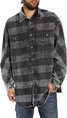 Diesel R) D-LOREN Longline Denim Shirt Jacket