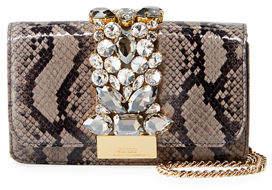 Gedebe Cliky Mini Jeweled Snakeskin Clutch Bag