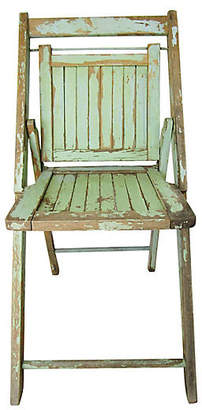 ... One Kings Lane Vintage Slated Wood Bistro Chair   AntiqueLifestyle