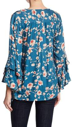 Jessica Simpson Morina Floral Print & Embroidered Blouse