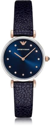 Emporio Armani T-Bar Stainless Steel Women's Quartz Watch w/Midnight Blue Leather Strap