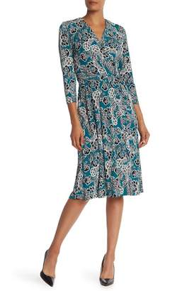 Sandra Darren Surplice Embroidered Print Wrap Dress