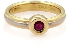 Cartier 18K Tri-Color Gold & Ruby Wire Design Band Ring Size 4.75
