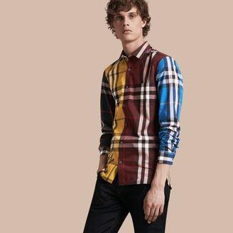 Burberry Colour Block Check Cotton Blend Shirt $325 thestylecure.com