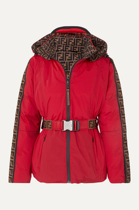 Fendi Reversible Belted Printed Shell Down Jacket - Red