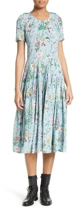 Women's The Kooples Floral Print Silk Midi Dress $495 thestylecure.com